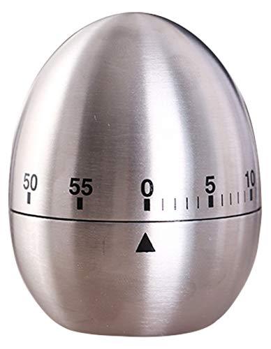 Ranvi Timer da Cucina, Timer Rotante Meccanico in Acciaio Inossidabile a Forma di Uovo, Cottura in 60 Minuti