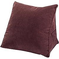 Woneart Almohadas de lectura-almohadas lumbares-Cojin cuña cojines de respaldo para sofá, coche, silla, cama (Cofffee, L: 55x55x28cm)