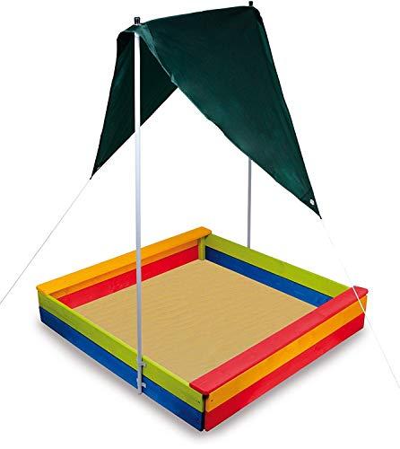 Sandkasten Sandkiste Sandkästen Sandmuschel mit Dach Sonnendach Sonnenschutz aus Holz Bunt viereckig mit Boden für Kinder Mädchen Jungen Balkon Garten und Terrasse,