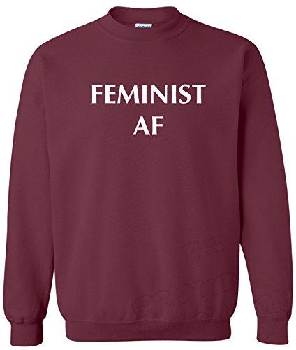 TrendFashion_Sweatshirt Feminist AF - Sudadera Unisex Rojo Granate S