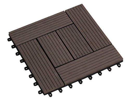tdock sol Florco WPC terrasse, carrelage, 30 x 30 cm, 1er choix, marron