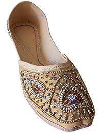 Kalra Creations Zapatos étnicos Tradicionales Indios de Terciopelo con Lentejuelas para Trabajo para Mujer