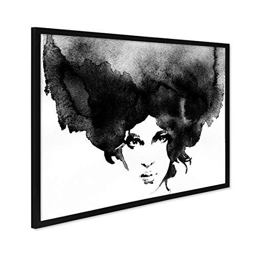 PHOTOLINI Design-Poster mit Bilderrahmen Schwarz 'Frauenkopf' 30x40 cm schwarz-Weiss Motiv Frau Aquarell