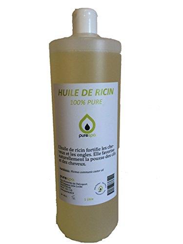Huile végétale de RICIN pressée à froid- 100% PURE - PURESPA , 1 Litre , soin du cheveu et de l'ongle