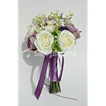 Lux Stunning Ivory Lilac Rose Lily of Valley Bridal Bouquet