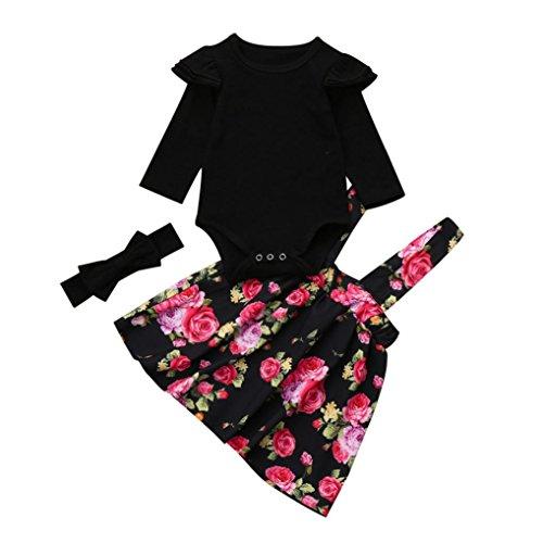 en Kinder Baby Mädchen Strampler Tops + Floral Tutu Party Prinzessin Kleid Set (Schwarz, 6-12 Monate) (Kinder Süßes Kleid)