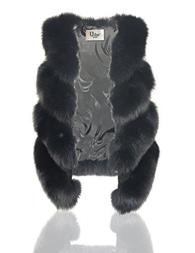 Uilor® Frauen 100% natürliche Fuchspelzweste klassische Oberbekleidung Schwarz