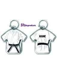 Cadeau personnalisée noir Ceinture Gi pour Arts martiaux Blanc en Forme de porte-clés Judo, karaté Arts martiaux, Ju Jitsu