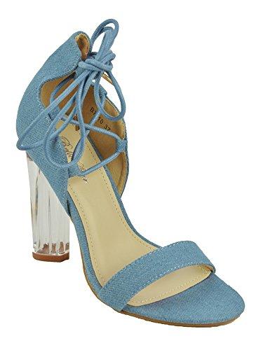 Escarpins Lacets Talon Transparent Bleu Bleu