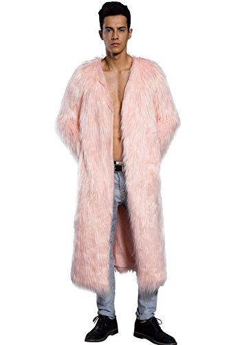 Vlunt Herren Pelzmantel Winterjacke Langmantel Parka Outwear Felljacke Rosa2-M