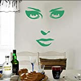 Whwd 57X60 cm Removable Wall Stickers Facial Features Female Art Murals Living Room Bedroom Home Decorative Wall Decals A