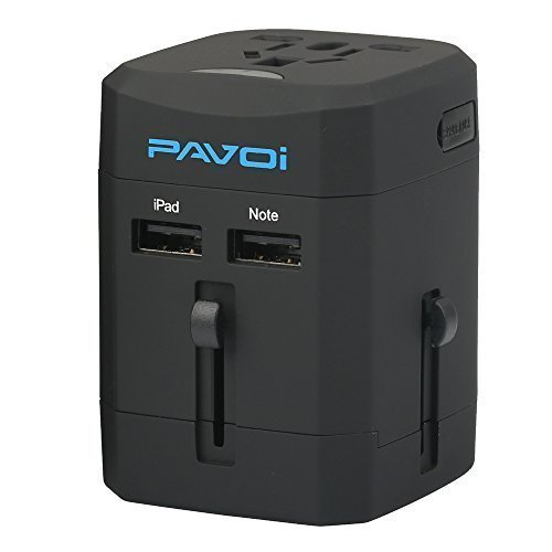 Pavoi All-in-One Reiseadapter Weltreiseadapter Universal Netzadapter Reisestecker Adapter Steckdosenadapter reise adapter Netz-Reiseadapter (USA UK EU AU) + 2.5A DUAL USB