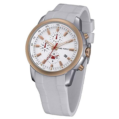 Time Force TF4056M15 - Reloj con correa de caucho para hombre, color blanco/gris