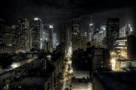 Fototapete Manhattan bei Nacht Wand-dekoration - Wandbild New York Poster-Motiv by GREAT...