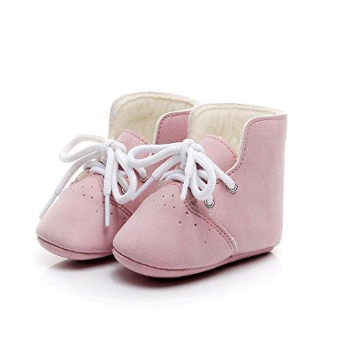 Chaussures premiers pas,Xinan Chaussures Garçon Fille Cuir Souple Chaussures Haute Bottines 3 Couleurs