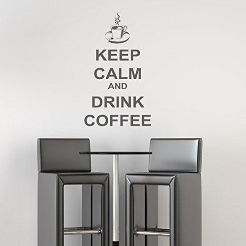 Mantenere la calma e bere il caffè Tenere Citaziones Calm Wall Stickers Oggettistica per la casa decalcomanie di arte disponibile in 5 dimensioni e 25 colori Extra-Small Nocciola