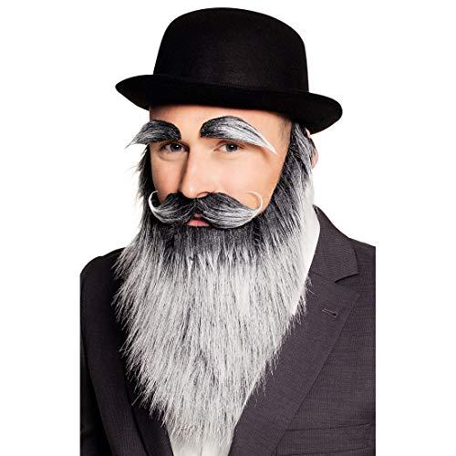 NET TOYS Lustiges Alter Mann Bart-Set - Grau - Hochwertiges Herren-Kostüm-Zubehör mit Vollbart, Schnurrbart und Augenbrauen - EIN Blickfang für Fasching & (Kostüm Mit Einem Schnurrbart)