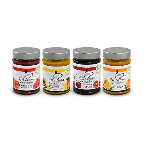 4 Sorten Oh! Lecker low-carb 80% Frucht Erdbeere,Mango,Kirsche,Pfirisch Stevia Fruchtaufstriche a 180 g| ohne Zuckerzsuatz & Konservierungsstoffe| Vegan| Glutenfrei| paleo| keto