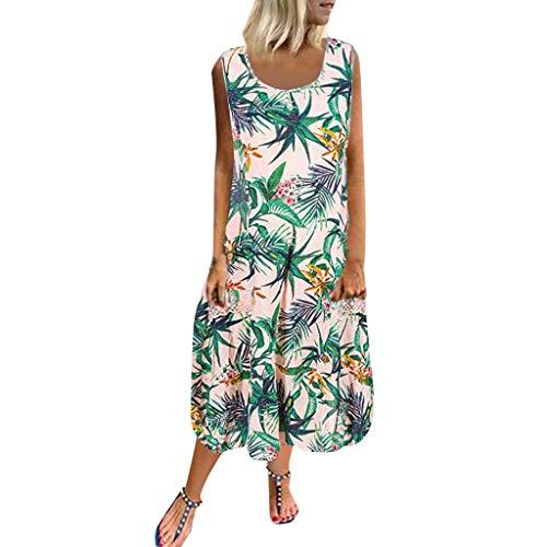 Markthym Beiläufiges Loses O Ansatz-Sleeveless Spitze-Patchwork-Taschen-Druck-Strand-Kleid der Frauen Ärmelloses Kleid für Damen - Gedruckt Dolman Sleeve