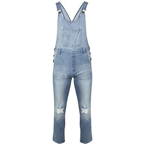 New Ladies Womens Regular Fit Fades Denim Dungaree Jumpsuit UK Size 8-16