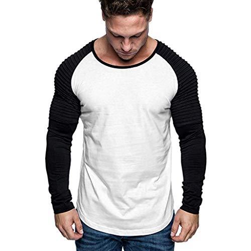 Yvelands Herren Männer T-Shirt Casual Slim Fit Langarm Patchwork Shirt Tops Rundhals Bluse(Schwarz,L) -