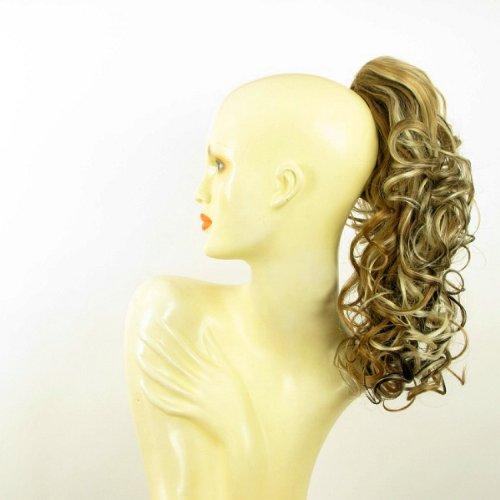 Postiche queue de cheval extension femme bouclée 40 cm blond clair méché cuivré clair et chocolat ref 3 en 15613h4