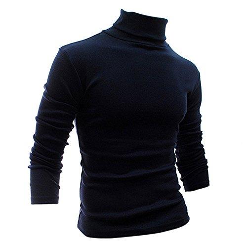 SODIAL (R) Moda Autunno Inverno maglione dolcevita shirt fantasia tinta unica Pullover da uomini blu M