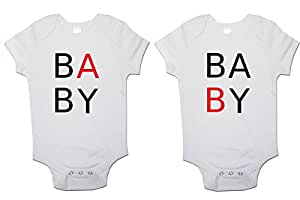 Twins Baby Bodysuits (Set of 2) Baby B Baby A Babygrow Vest (3-6 Months)