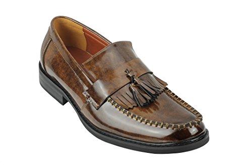 Xposed mens vintage lucido brevetto in pelle nappa mocassini retro mod scarpe in bordeaux, nero, marrone (brown), 46 eu