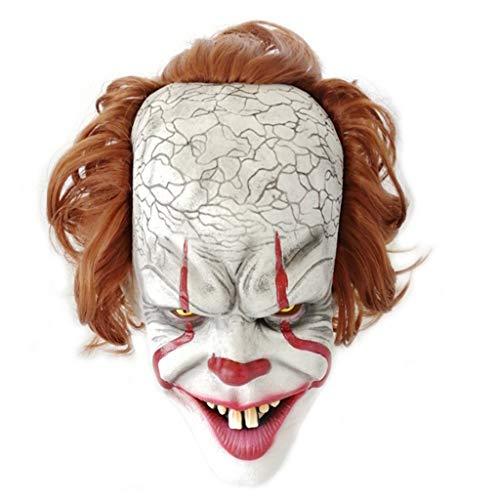 Halloween Horror Requisiten Clown Soul Maske Latex Clown Gruselige Maske/Maske und Haar eines alten Mannes, Herren, Einheitsgrösse Make-up-Zubehör