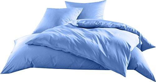 Mako-Satin Baumwollsatin Bettwäsche Uni einfarbig zum Kombinieren (Kissenbezug 80 cm x 80 cm, Hellblau) (Kissenbezug Standard Cooler)