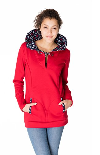 GoFutureWithLove - Robe spécial grossesse - Manches Longues - Femme Rot mit Ankern auf dem Innenfutter