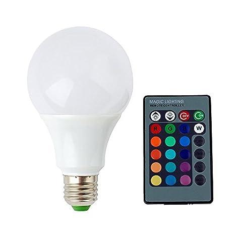 YOOYEE A50 16 Farbe ändern RGB LED SD Glühbirne Lampe 3W E27 Standard Schraube Basis Lebensdauer 25000h mit Fernbedienung für Dekorieren Haus, Bar, Party, KTV