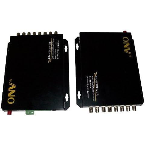 Ottica fibra ottica transceiver 8CH Video trasmettitore ricevitore Extender 1Reverse