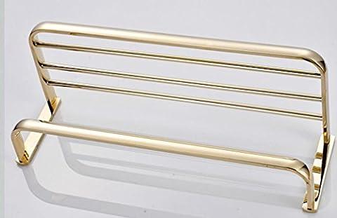 Barre porte-serviettes Porte-serviettes de salle de bain tout en cuivre Pendentif en métal doré antique de serviette de toilette Serviette Rack double Porte-serviettes