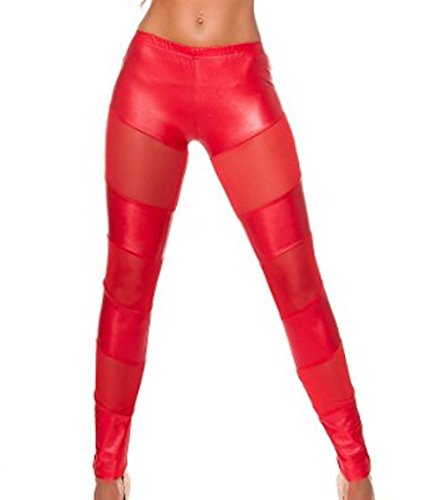 KouCla - Legging - Femme Noir Noir 38 Rouge - 2 Rot