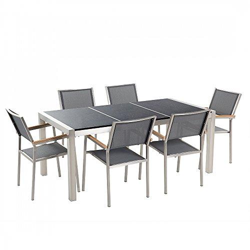 Gartenmöbel - Granitgartentisch 180 cm schwarz poliert mit 6 grauen Stühlen - GROSSETO
