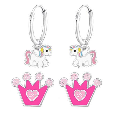 Copía: FIVE-D 2 pares de pendientes de aro para niños, unicornio y corona, de plata 925, en estuche de joyería