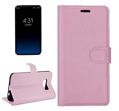Wkae Litchi Textur Horizontale Flip Leder Tasche mit Magnet Wölbung & Halter & Card Slots & Wallet Für Samsung Galaxy S8 ( Color : Purple ) Pink