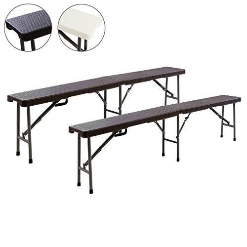 Nexos Partybank 2er Set Klappbank Rattan-Optik 180 x 25 x 43 cm Bierbank bis 200 kg Gartenbank Garnitur robust stabil wetterfest Farbe wählbar weiß schwarz braun (braun) - Braune Outdoor-bänke