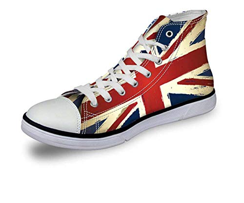 New Flag Hi Tops Women Girl High Top Lace Up Trainers Canvas Shoes Soft Pumps pattern6 CA5446AK UK 7