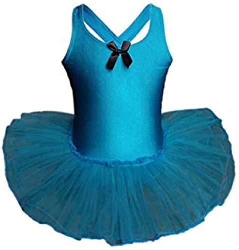 AGOGO 2018 Baby Kinder Mädchen Ballett Tänzerin Halbarm Dancewear Spitze Blume Gymnastik Trikot Stretch Tanzen Training Kostüm (Blau, XXXL)