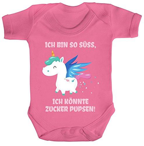 ShirtStreet süßes Unicorn Glitzer Strampler Bio Baumwoll Baby Body kurzarm Jungen Mädchen Einhorn - Zucker Pupsen, Größe: 0-3...
