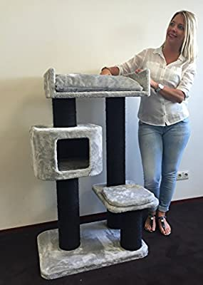 Cat tree for large cats Devon Rex Blackline Grey15cmØ poles ca 31KG and 70x50x120cm cat scratcher scratching post activity centre for heavy or large cats. Quality production from RHRQuality