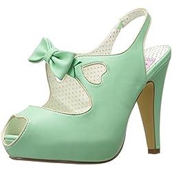 Sandalia plataforma abierta Bettie-03 con el arco y corte del corazón detalle de menta - Rockabilly vintage - Pin Up Couture