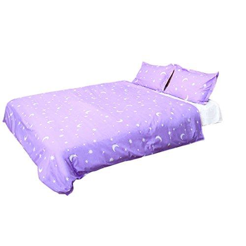 sourcingmap® Sternenaufdruck Bettbezug Kissenbezug Bettdecke Abdeckung Bettbezugset Lila Passendes Twin-bettdecken