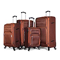 Giordano Luggage Trolley Bags Set, 4 Pcs With 4 Wheel, Brown - 9750661