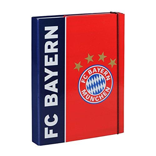 FC Bayern München Sammelmappe / Dokumentenmappe / Ordner / Heftebox / Sammelbox / Aufbewahrungsmappe FCB - plus gratis Aufkleber forever München Ø 9,5 cm (Ordner-fan)