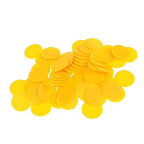 ELECTROPRIME® 100Pcs Plastic Poker Chips Bingo Board Games Markers Token Kids Toy Yellow
