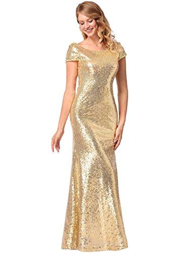 Frauen Kurzarm O-Ausschnitt Fischschwanz hell Abend Prom Pailletten Kleid Gold S - 3